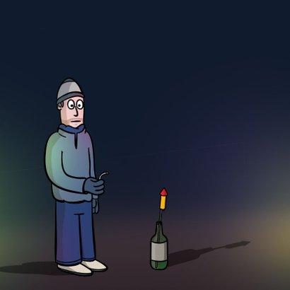 Grappige nieuwjaarskaart met cartoon 'kort lontje' 2