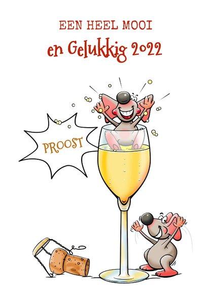 Grappige nieuwjaarskaart met muizen en champagne 3