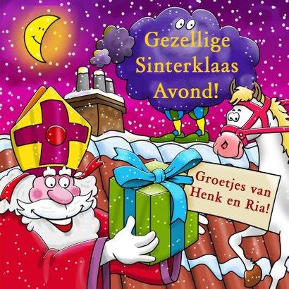 Grappige Sinterklaaskaart met Sint en Piet op het dak 3