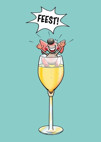 Grappige uitnodiging met muizen en fles champagne 3