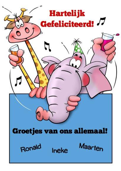 Grappige verjaardagkaart olifant met ballon 3