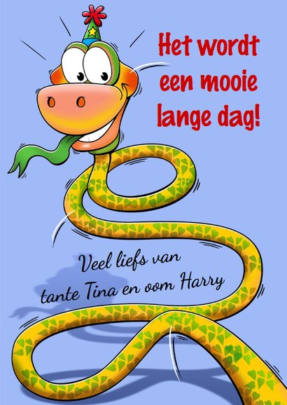 Grappige verjaardagkaart slang met lange nek 6 jaar 3