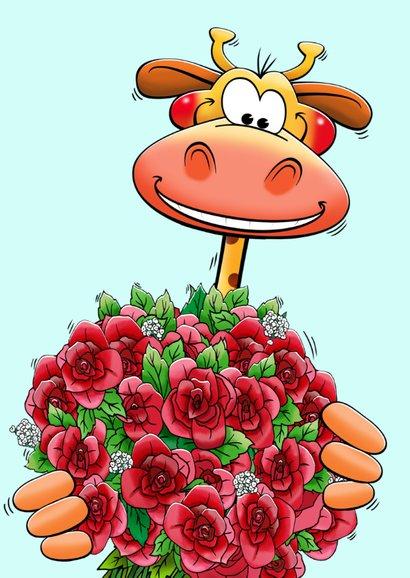 Grappige verjaardagskaart giraf met glas en bos rozen 3