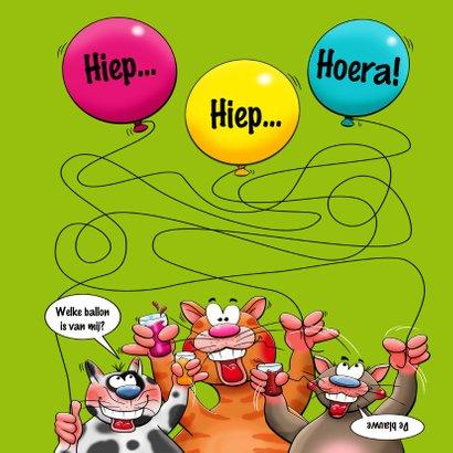 Grappige verjaardagskaart met 4 poesjes die juichen 3