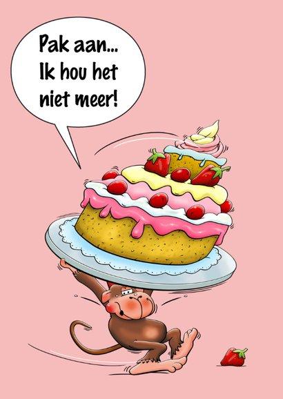Grappige verjaardagskaart met aapje en een hele grote taart 3