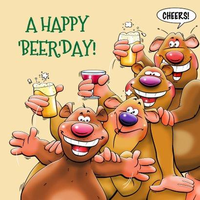 Grappige verjaardagskaart met juichende beer 3