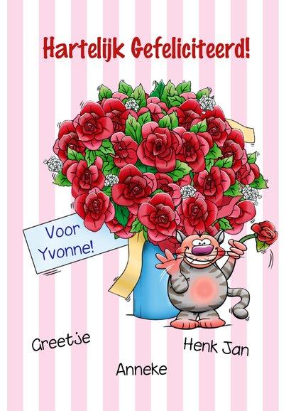 Grappige verjaardagskaart met juichende poezen en bos rozen 3