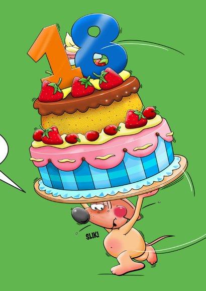 Grappige verjaardagskaart met muisje en grote taart 3