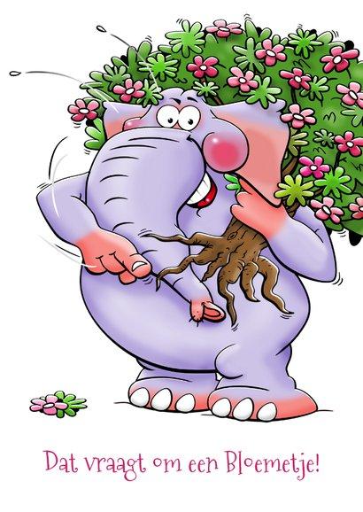 Grappige verjaardagskaart met olifant en bosje bloemen. 3