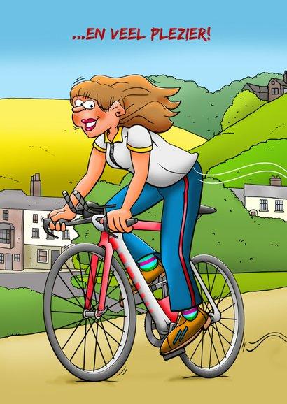 Grappige verjaardagskaart met wielrenster in mooie omgeving 2