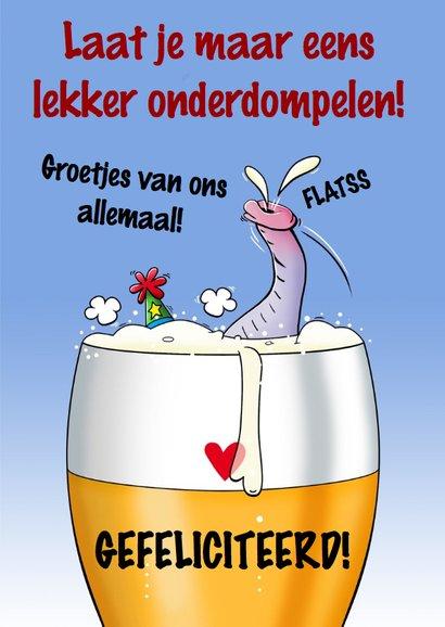Grappige verjaardagskaart olifant in glas bier 3