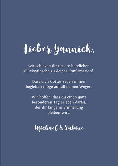 Gratulationskarte Konfirmation Kreuz blaue Spritzer 3