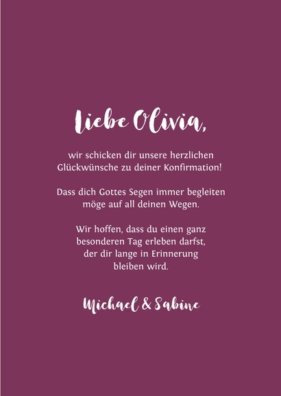 Gratulationskarte Konfirmation Kreuz Spritzer pink 3