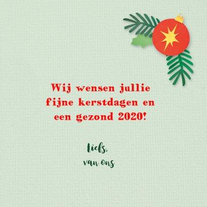 Groene kerstkaart met roodborstje 3