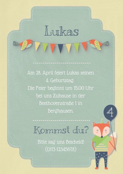 Grüne Einladungskarte Kindergeburtstag kleiner Fuchs 3