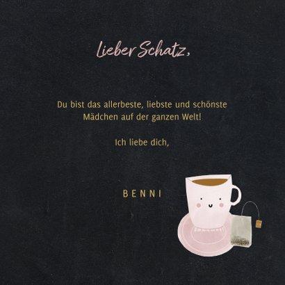 Grußkarte 'cutea' mit Teetasse und Foto innen 3