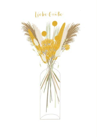 Grußkarte gelbe Trockenblumen in Vase 2