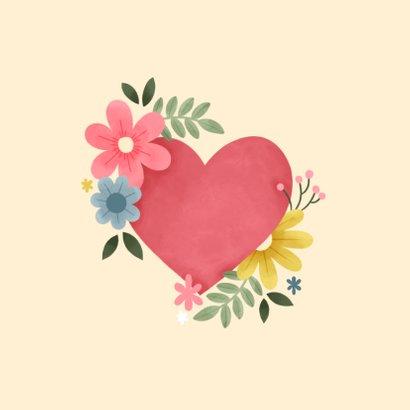 Grußkarte Gute Besserung Herz mit Blumen 2