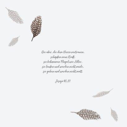 Grußkarte 'Ich denk an dich' mit Federn 2