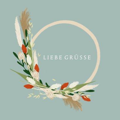 Grußkarte 'Liebe Grüße' eleganter Blumenkranz 2