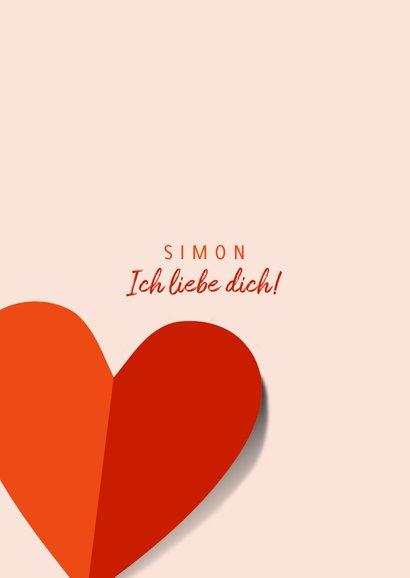 Grußkarte Liebe rote Papierherzen 2