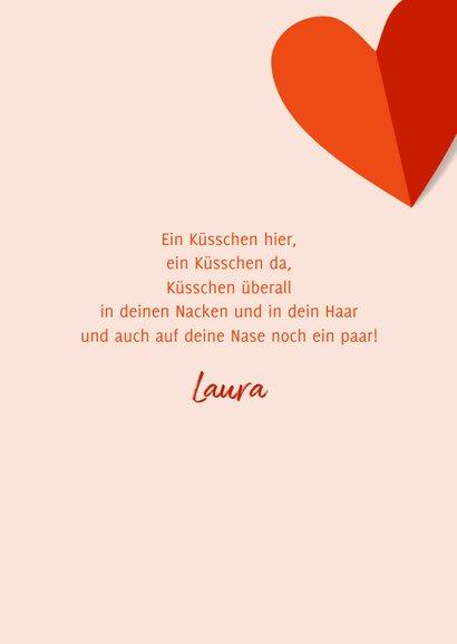 Grußkarte Liebe rote Papierherzen 3