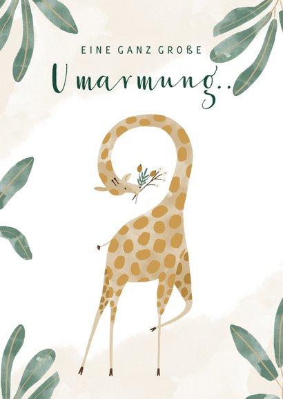 Grußkarte mit Giraffe und Wasserfarben 2