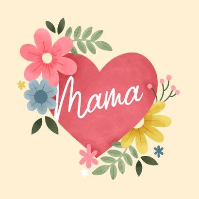Grußkarte Muttertag Foto in botanischem Herz 2