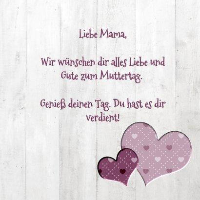 Grußkarte Muttertag Fotos in Herzen im Holzlook 3