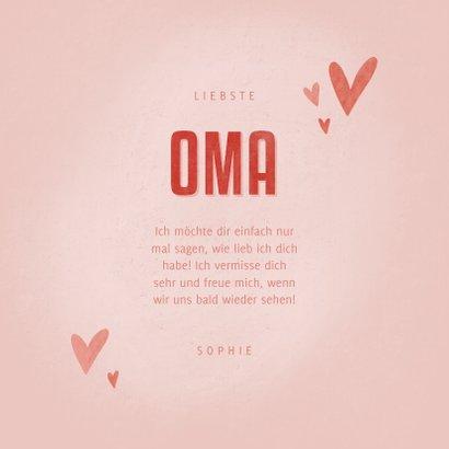 Grußkarte Oma mit Herzen und Foto innen 3