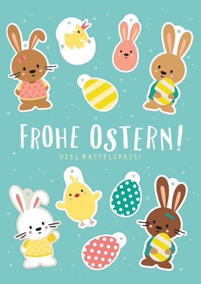 Grußkarte Ostern mit lustigem Bastelbogen 2