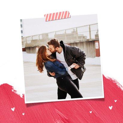Grußkarte pink mit Foto und I love you 2