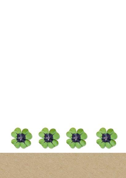 Grußkarte viel Glück Kraftpapier mit Kleeblatt 2