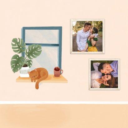 Grußkarte 'wir denken an dich' Katze auf Fensterbank 2