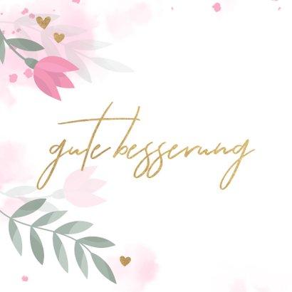 Gute Besserungskarte mit Blumenmotiv in Pastell 2