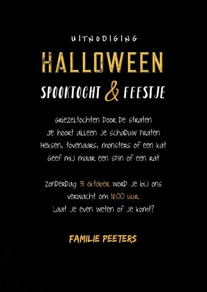 Halloweenfeest uitnodiging scary maan skelet 3