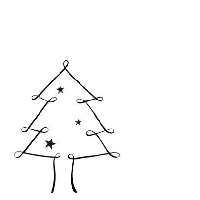 Handlettering kerstkaart zwartwit kerstboom 2