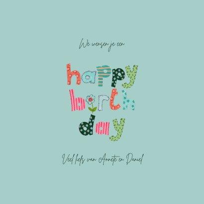 Happy Birthday Letters Bloemen Vrolijk roze 3