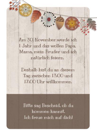 Herbstliche Einladungskarte zum Kindergeburtstag mit Foto 3