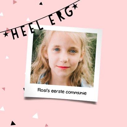 Hip bedankkaartje eerste communie met slingers en confetti 2