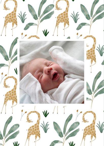 Hip geboortekaartje giraffen patroon met label 2