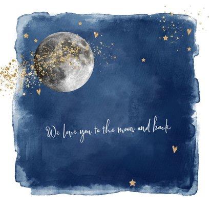 Hip geboortekaartje jongen maan, donkerblauw watercolor 2