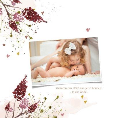 Hip geboortekaartje meisje met aquarel herfstbladeren 2