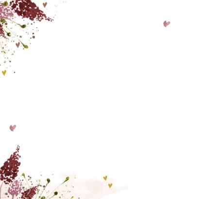 Hip geboortekaartje meisje met aquarel herfstbladeren Achterkant