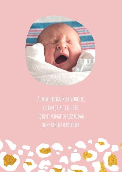 Hip geboortekaartje met goudlook panterprint 2