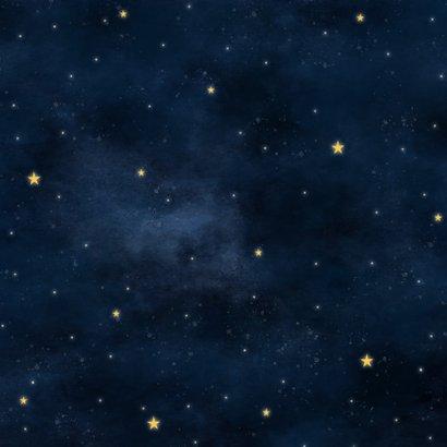 Hip geboortekaartje met hartvormige maan en sterrenstelsel Achterkant