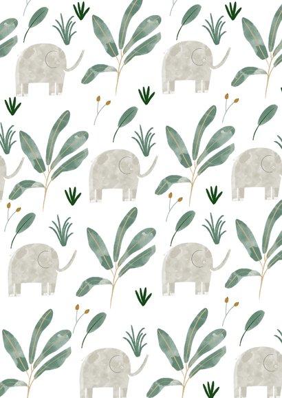 Hip geboortekaartje olifanten patroon met label Achterkant