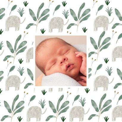 Hip geboortekaartje olifanten patroon met vlak 2