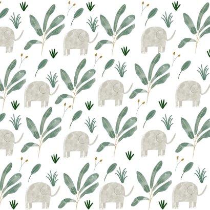 Hip geboortekaartje olifanten patroon met vlak Achterkant