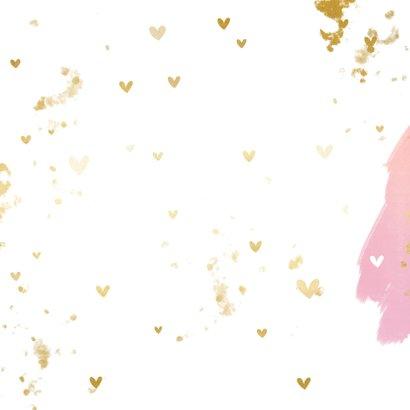 Hip geboortekaartje waterverf hartjes en gouden spetters Achterkant